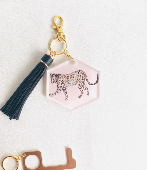 Pretty in Pink Leopard Key Chain