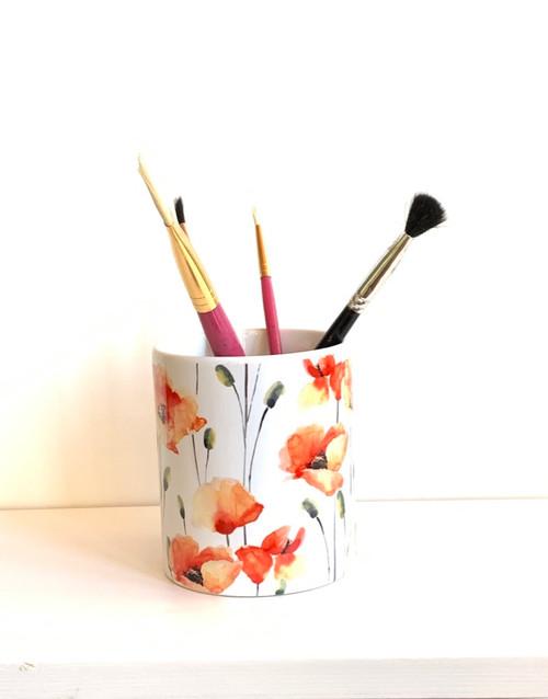Floral Poppy Ceramic Pen/Brush Holder