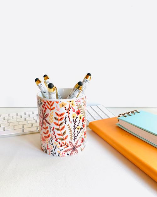 Yellow Meadows Ceramic Pen/Brush Holder