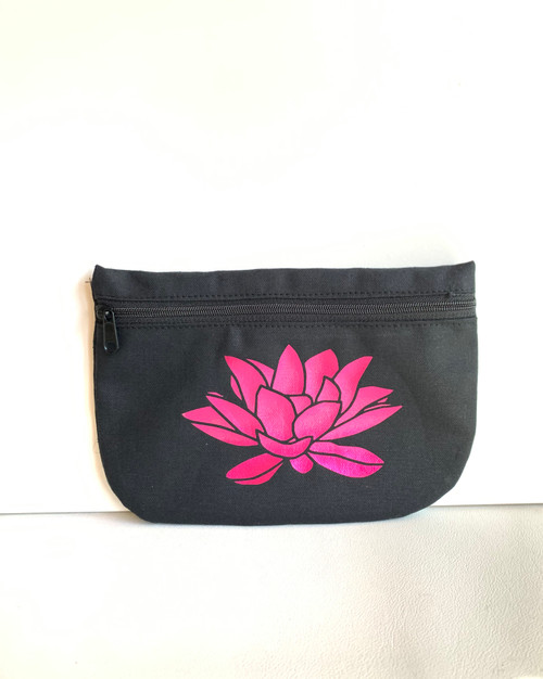 Lotus Petals Black Cotton Canvas Cosmetic Bag