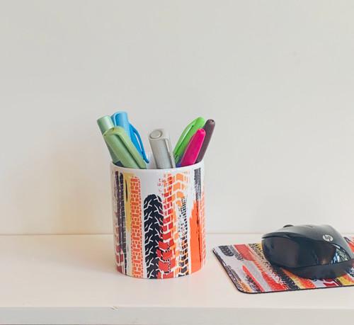 Tire Tracks Pen/Pencil/Brush Ceramic Cup