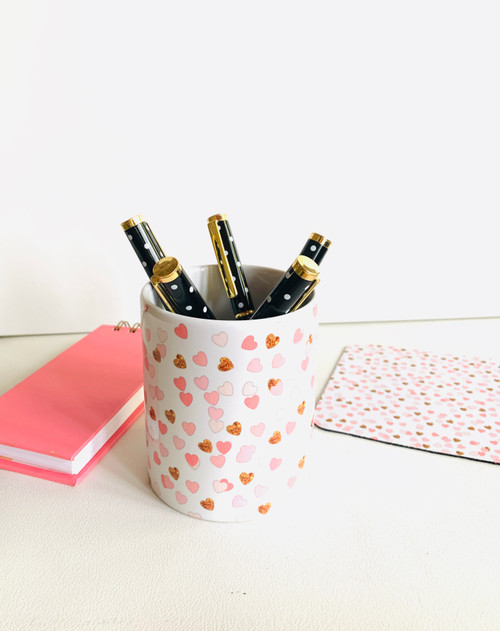 Pink and Gold Hearts Ceramic Pen/Brush Holder