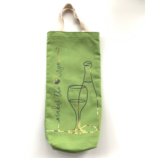 Makes the Heart Rejoice Wine Tote -Lime and Gold