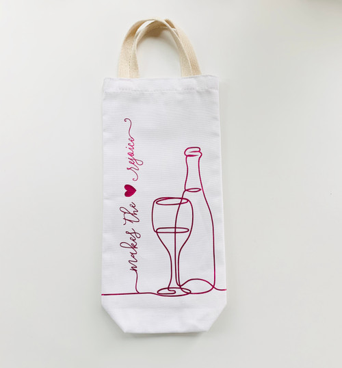 Makes the Heart Rejoice Wine Tote -White and Cherry