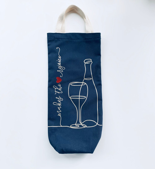 Makes the Heart Rejoice Wine Tote - Navy and Vegas gold