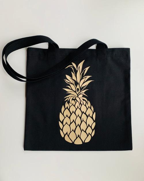 Golden Pineapple Black Canvas Tote Bag