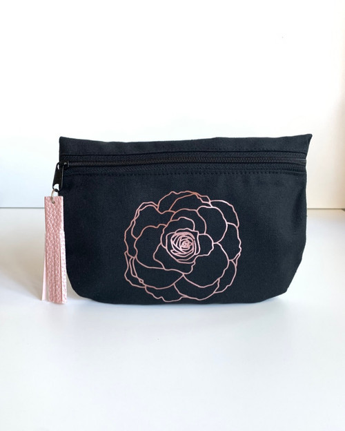 Rose Gold Peony Black Cotton Canvas Cosmetic Bag