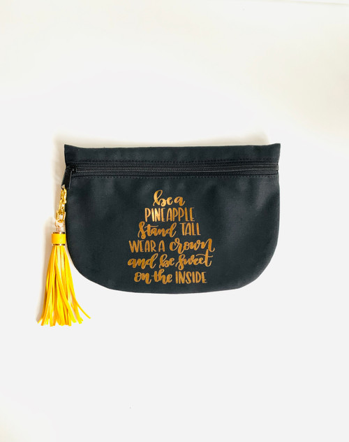 Be A Pineapple  Black Cotton Canvas Cosmetic Bag