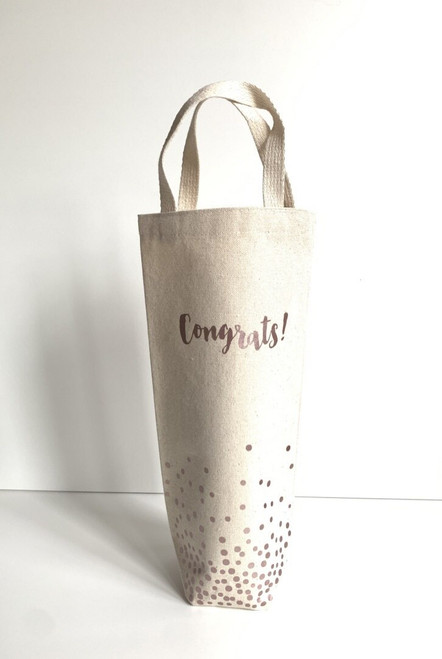 Natural canvas wine tote with rose gold confetti