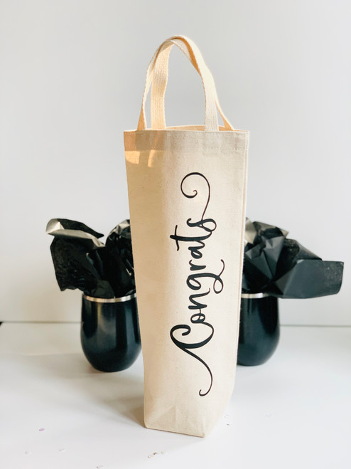 Congrats Natural Canvas Wine/Beverage Gift Bag