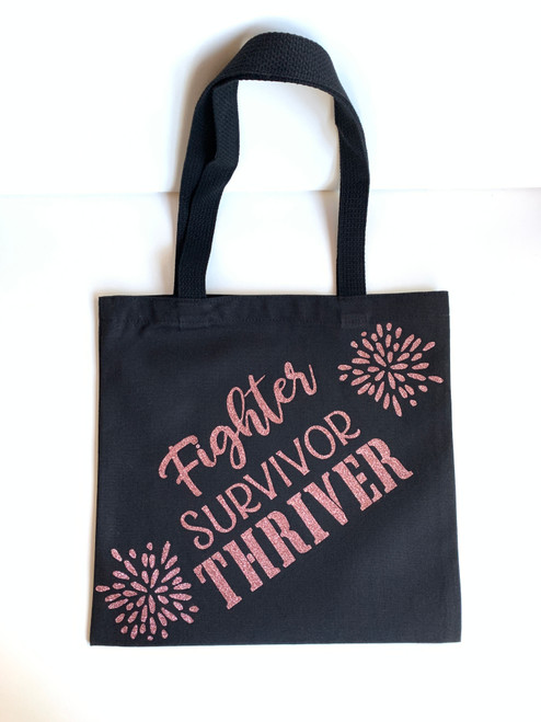 FIghter Survivor  Thriver Black Canvas Tote Bag