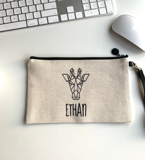 Giraffe Personalized Zippered Case - ETHAN
