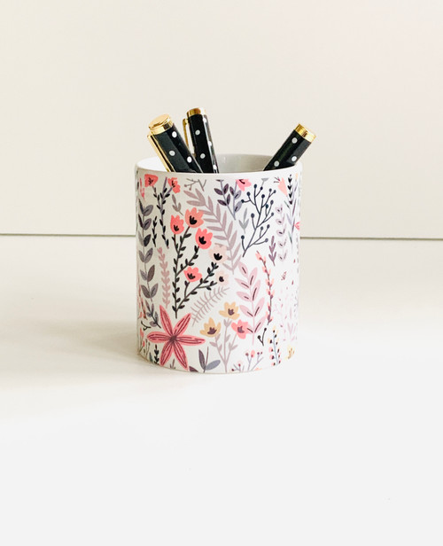 Pink Wildflower Ceramic Pen/Brush Holder