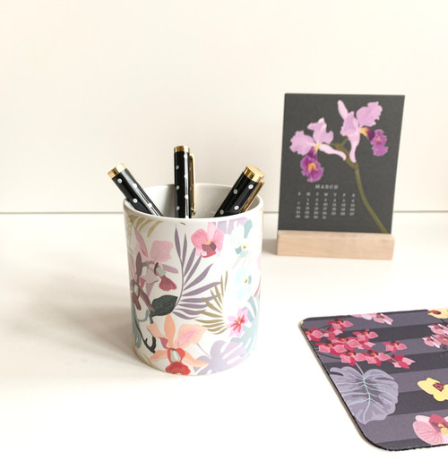Cattelaya Orchids Ceramic Pen/Brush Holder