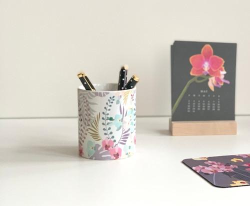 Tropical Orchids Ceramic Pen/Brush Holder