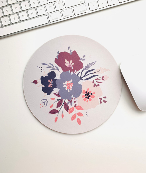 Pastel Floral Round Mouse pad