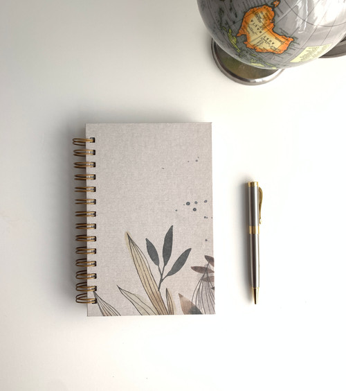 Gray Botanical Watercolor  Handmade Notebook