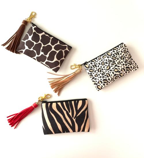 Animal Print Canvas Zippered Case with Tassel