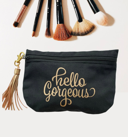 Hello Gorgeous Black Cotton Canvas Cosmetic Bag