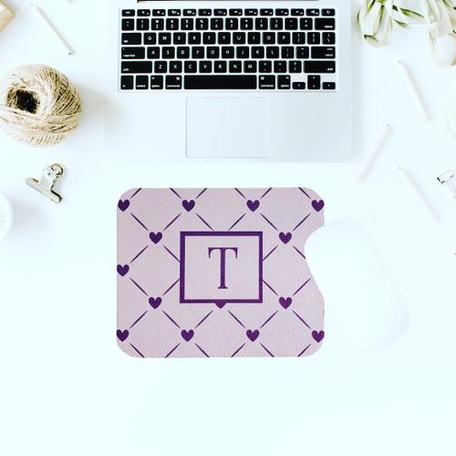Purple Hearts Monogram Mousepad
