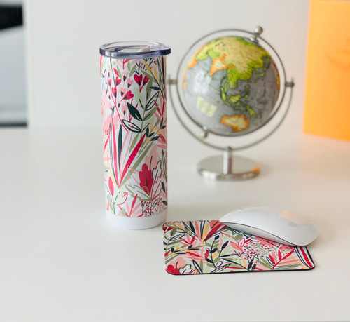 Pink and Green Wildflower Tumbler