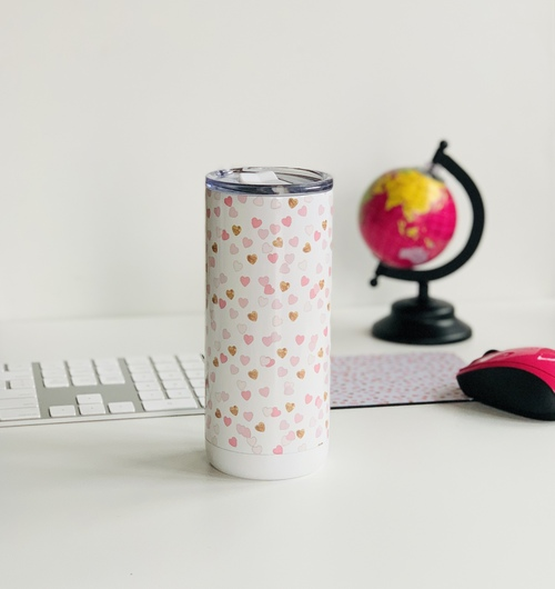 Pink and Gold Hearts 16 oz Tumbler