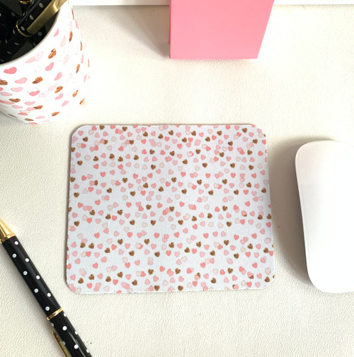 Pink and Gold Hearts Mini Mousepad