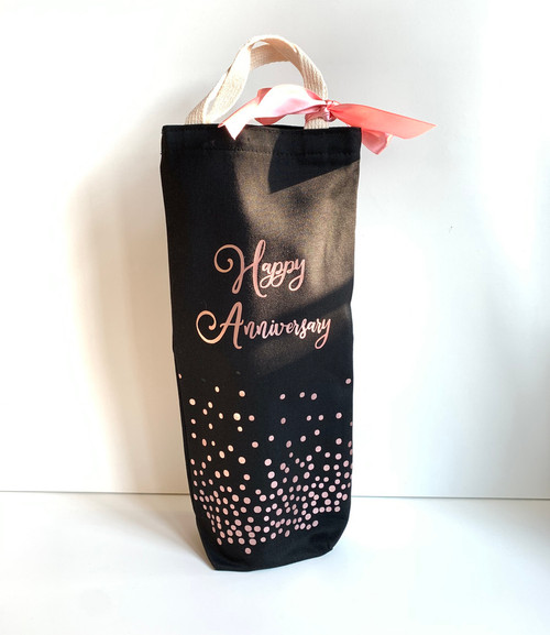 Happy Anniversary Confetti Cotton Canvas Wine/Beverage Gift Bag