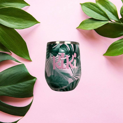 Pink Tropical  Stemless Tumbler Personalized/Bridal