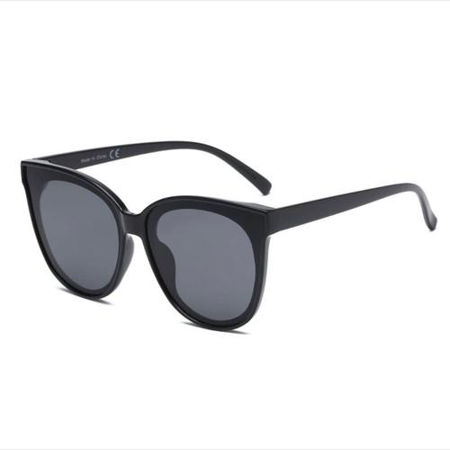 Round Cat Eye Black Sunglasses