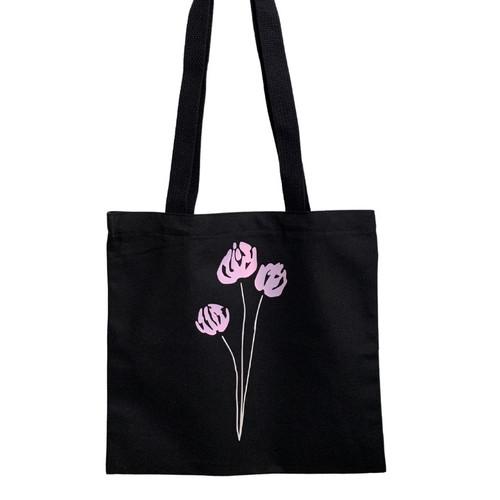 Pink Blooms Black Cotton Tote