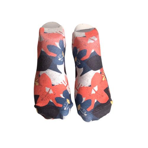 Tropical Hibiscus No-Show Socks