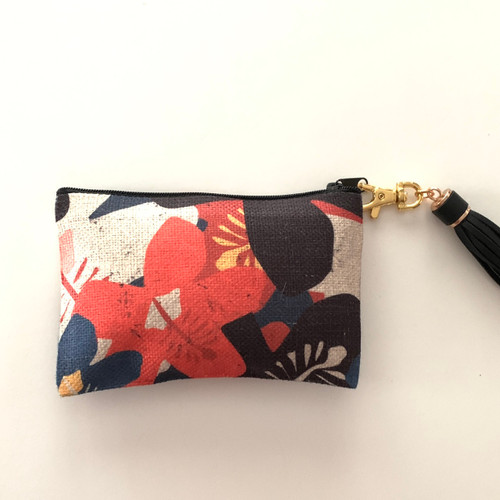 Hibiscus Coin Purse with  Tassel