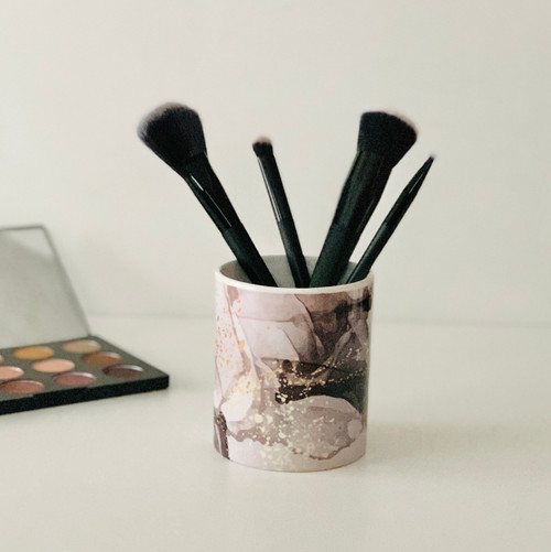 Gray and Gold Ink Makeup Brush Cup