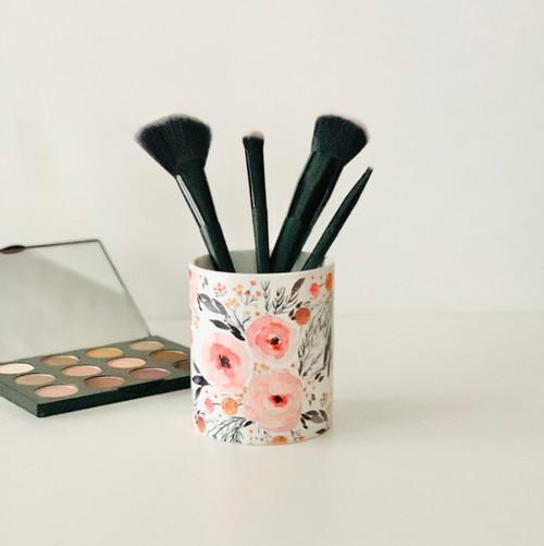 Pink Mountain Floral Makeup Brush Cup