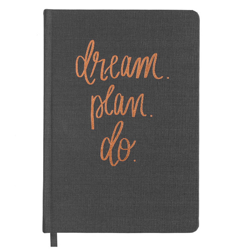 Dream Plan Do Grey and Rose Gold Notebook