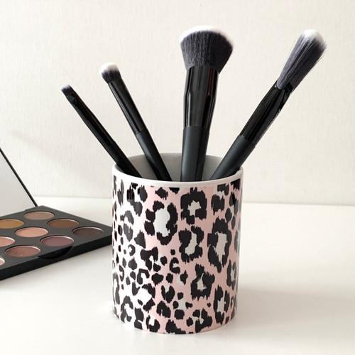 Blush Leopard Ceramic Brush Cup