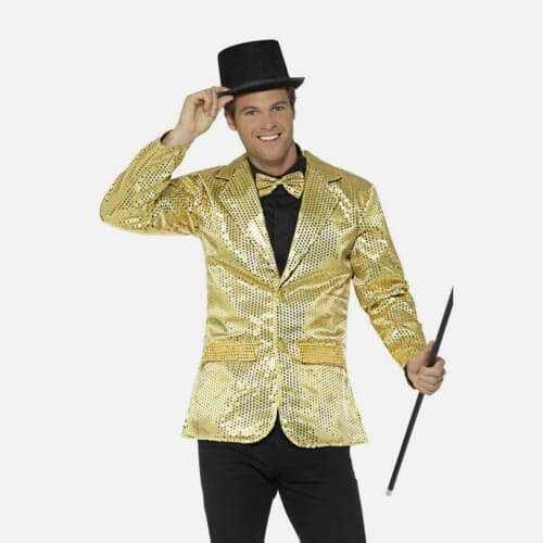 Man in suit and top hat costume