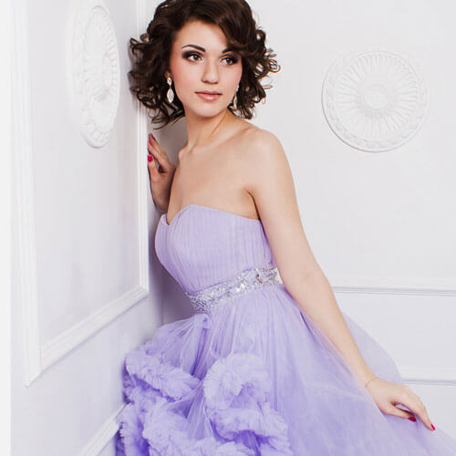 Woman wearing bridal party dress