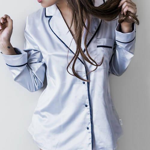 Woman wearing pajamas