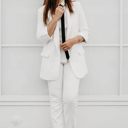 Woman wearing pabt suit