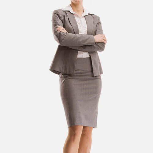 Woman wearing skirt suit