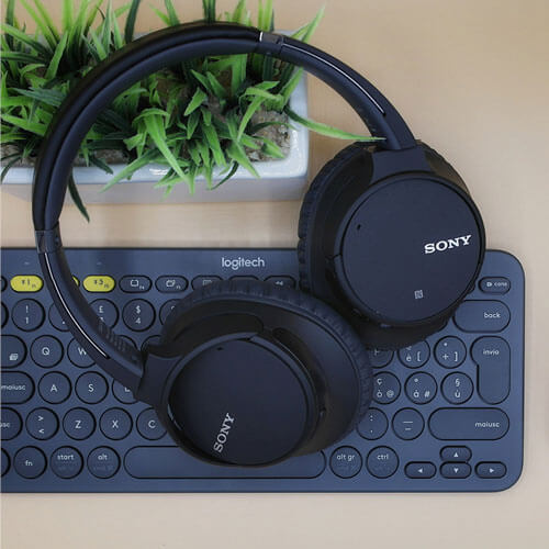 Headphones on keyboard