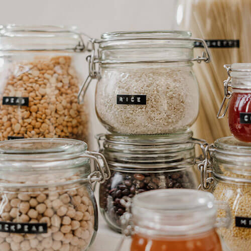 Jars of grains & rice