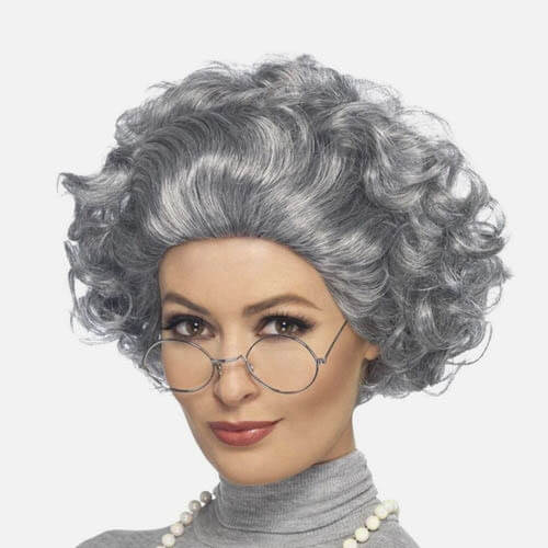 Mrs. Claus wig & glasses