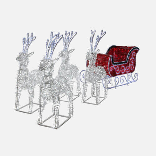 Commercial sleigh & reindeer decoration