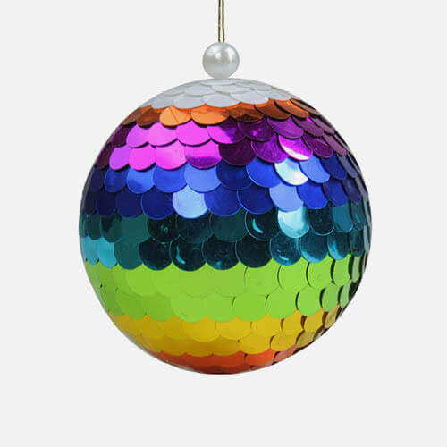 Rainbow mirror ball ornaments