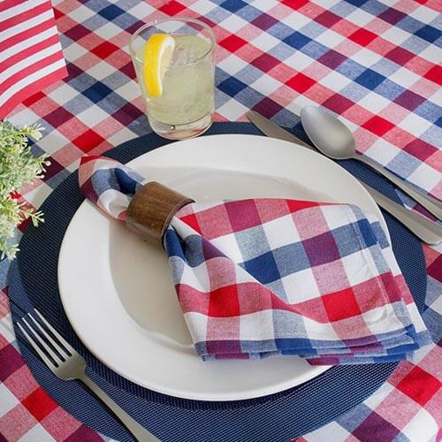 Red, white & blue checkered tablecloth