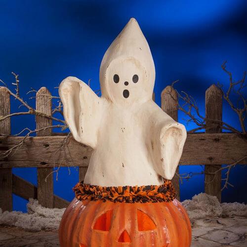 Ghost in pumpkin figure