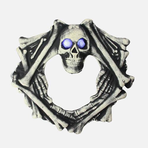 Lighted skeleton wreath